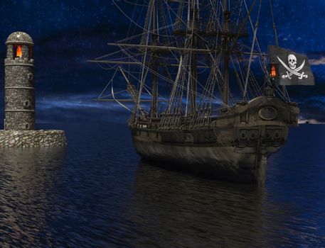 Pirate sailship near the old lighthouse with fire at moonlight - 3d rendering