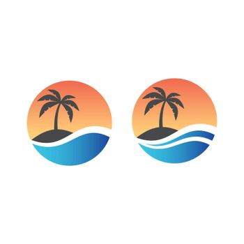 Tourism, exotic summer vacation or holiday colorful vector symbol.
