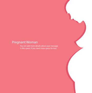 pregnant woman with pink background vector illustration