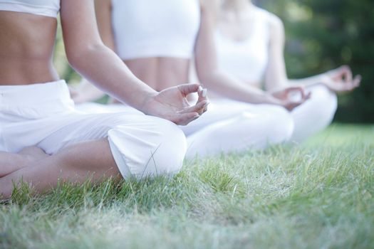 Women in white sportswear sitting in lotus position during group yoga training at park unrecognizable people