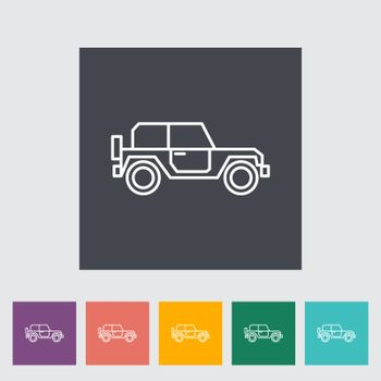Offroad car outline icon on the button. Vector illustration.