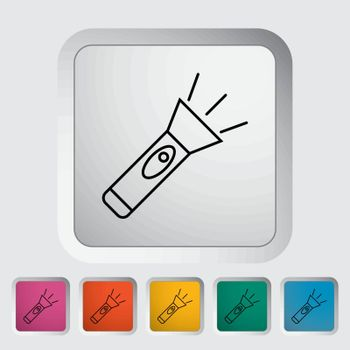 Flashlight. Outline icon on the button. Vector illustration.