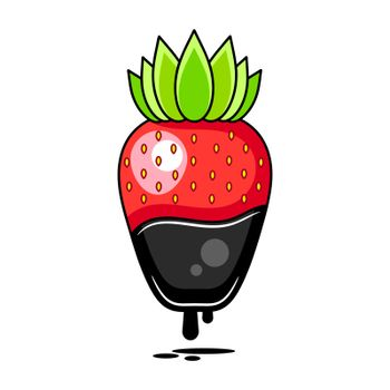 Chocolate Dipped Strawberry - Vector Illustration Suitable For Greeting Card, Poster Or T-shirt Printing.