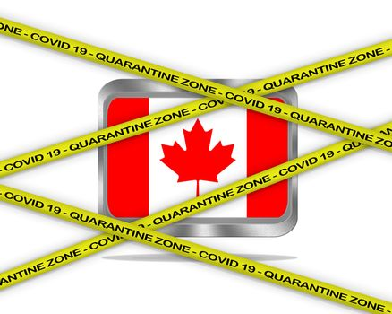 COVID-19 warning yellow ribbon written with: Quarantine zone Cover 19 on Canada flag illustration. Coronavirus danger area, quarantined country.
