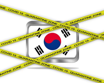 COVID-19 warning yellow ribbon written with: Quarantine zone Cover 19 on South Korea flag illustration. Coronavirus danger area, quarantined country.