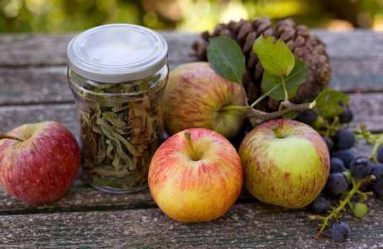 Autumn nature concept. Fall fruit on wood (thanksgiving, background, autumn)