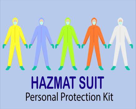 illustration ppe or hazmat suit full color