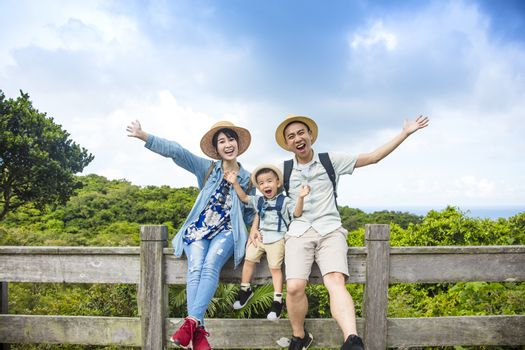 happy asian Family On Hiking Adventure