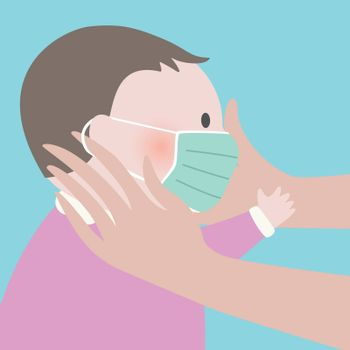 Close up of Mother putting green protective face mask on her child.Epidemic disease concept.Maternity virus spreading protection.air pollution face mask.vector illustration.