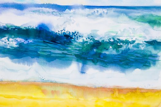 Watercolor seascape original painting colorful of sea view,beach, wave and sky,cloud background in the morning bright, nature beauty season. Painted impressionist, abstract images.