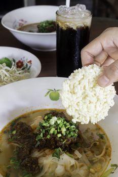 Local Thai style noodles pork soup, stock photo