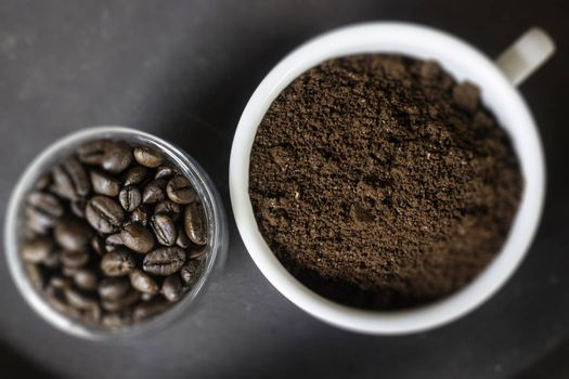 Fresh roasted blend coffee beans, stock photo
