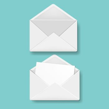Envelope Collection Mint Background With Gradient Mesh, Vector Illustration
