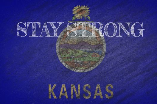 COVID-19 warning. Quarantine zone Covid 19 on Kansas ,flag illustration. Coronavirus danger area, quarantined country. Stay strong.