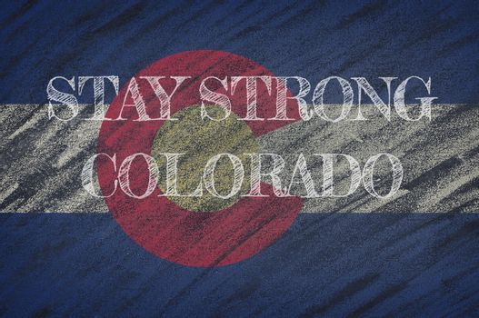 COVID-19 warning. Quarantine zone Covid 19 on Colorado ,flag illustration. Coronavirus danger area, quarantined country. Stay strong.