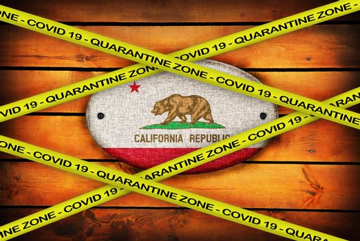 COVID-19 warning yellow ribbon written with: Quarantine zone Cover 19 on California flag illustration. Coronavirus danger area, quarantined country.