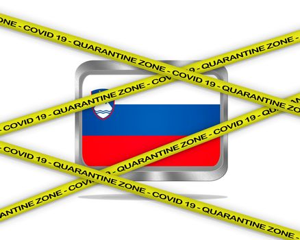 COVID-19 warning yellow ribbon written with: Quarantine zone Cover 19 on Slovenia flag illustration. Coronavirus danger area, quarantined country.