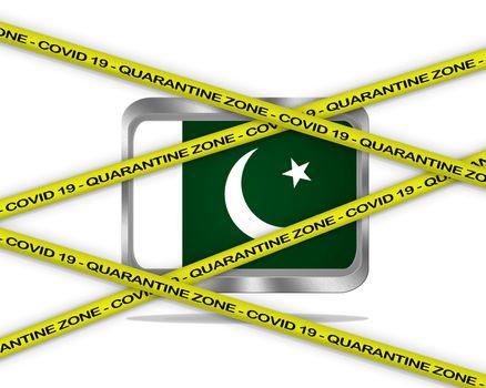 COVID-19 warning yellow ribbon written with: Quarantine zone Cover 19 on Pakistan flag illustration. Coronavirus danger area, quarantined country.