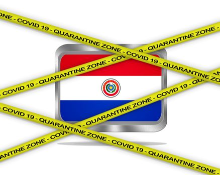 COVID-19 warning yellow ribbon written with: Quarantine zone Cover 19 on Paraguay flag illustration. Coronavirus danger area, quarantined country.