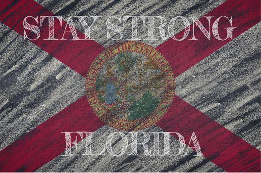 COVID-19 warning. Quarantine zone Covid 19 on Florida ,flag illustration. Coronavirus danger area, quarantined country. Stay strong.