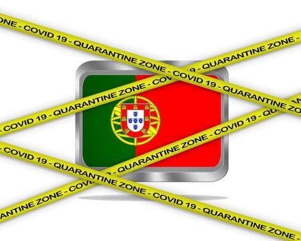 COVID-19 warning yellow ribbon written with: Quarantine zone Cover 19 on Portugal flag illustration. Coronavirus danger area, quarantined country.