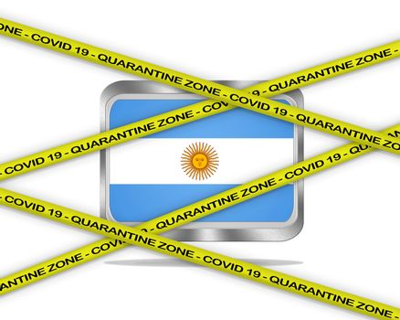 COVID-19 warning yellow ribbon written with: Quarantine zone Cover 19 on Argentina flag illustration. Coronavirus danger area, quarantined country.