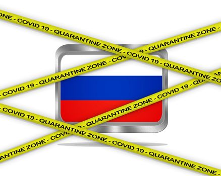 COVID-19 warning yellow ribbon written with: Quarantine zone Cover 19 on Russia flag illustration. Coronavirus danger area, quarantined country.