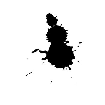 Ink black blot. Abstract stain. Isolate on a white background.