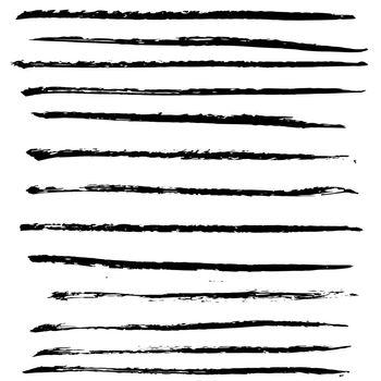 Ink black grunge stripes set. Vector illustration