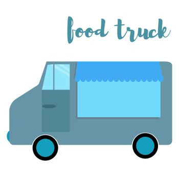 Food truck. van with food. Vector illustration
