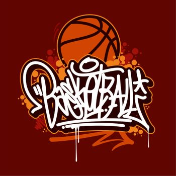 Abstract Hand Sketched Graffiti Style Word Basketball Vector Typography Illustration As Logotype, Badge and Icon, Postcard, Card, Invitation, Flyer, Banner Template
