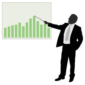 businessman showing presentation - vector