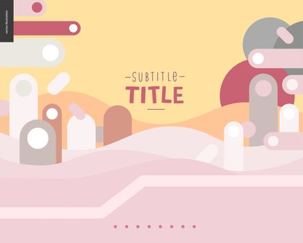 Pink and yellow landscape template design mockup vector banner - rounded colorful shapes abstract scenery on pink and yellow background accompanied with a title, and text templates