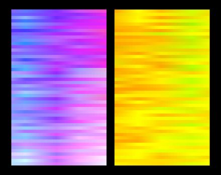Two contrast vibrant colors backgrounds set. Magenta and yellow striped vertical banners.
