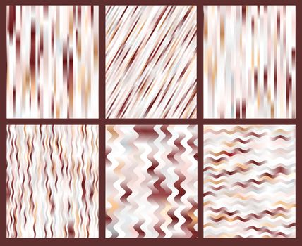 set of brown vector striped backgrounds soft gradient colors