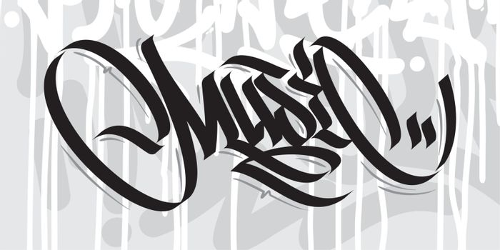 Word Music Graffiti Font Lettering