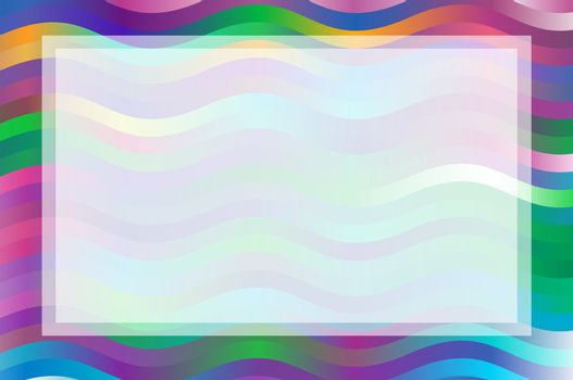 frame with colorful waves blue magenta and green background