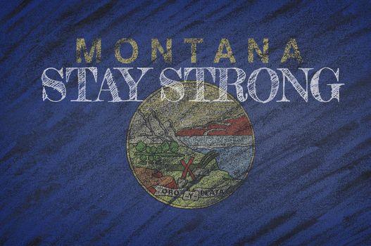 COVID-19 warning. Quarantine zone Covid 19 on Montana ,flag illustration. Coronavirus danger area, quarantined country. Stay strong.