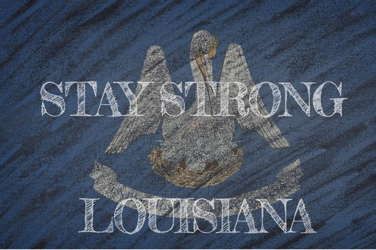 COVID-19 warning. Quarantine zone Covid 19 on Louisiana ,flag illustration. Coronavirus danger area, quarantined country. Stay strong.