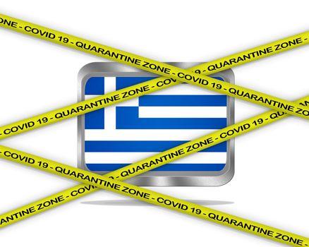 COVID-19 warning yellow ribbon written with: Quarantine zone Cover 19 on Greece flag illustration. Coronavirus danger area, quarantined country.