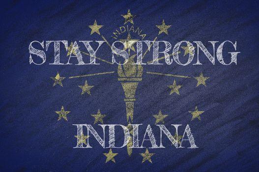 COVID-19 warning. Quarantine zone Covid 19 on Indiana ,flag illustration. Coronavirus danger area, quarantined country. Stay strong.