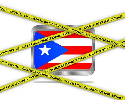 COVID-19 warning yellow ribbon written with: Quarantine zone Cover 19 on Puerto Rico flag illustration. Coronavirus danger area, quarantined country.