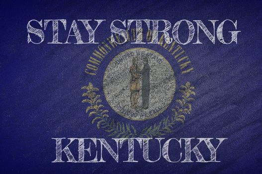 COVID-19 warning. Quarantine zone Covid 19 on Kentucky ,flag illustration. Coronavirus danger area, quarantined country. Stay strong.