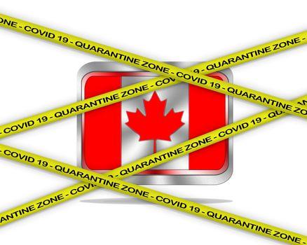 COVID-19 warning yellow ribbon written with: Quarantine zone Cover 19 on Canada flag illustration. Coronavirus danger area, quarantined country.