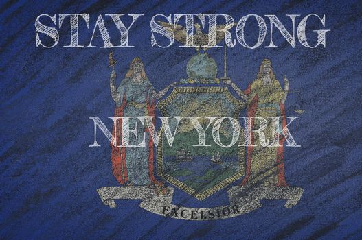 COVID-19 warning. Quarantine zone Covid 19 on New York ,flag illustration. Coronavirus danger area, quarantined country. Stay strong.