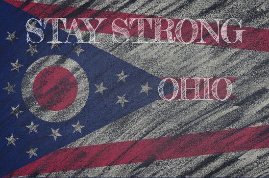 COVID-19 warning. Quarantine zone Covid 19 on Ohio ,flag illustration. Coronavirus danger area, quarantined country. Stay strong.