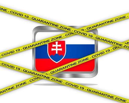 COVID-19 warning yellow ribbon written with: Quarantine zone Cover 19 on Slovakia flag illustration. Coronavirus danger area, quarantined country.
