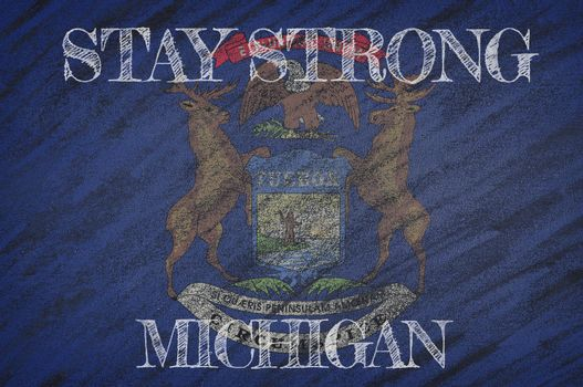 COVID-19 warning. Quarantine zone Covid 19 on Michigan ,flag illustration. Coronavirus danger area, quarantined country. Stay strong.
