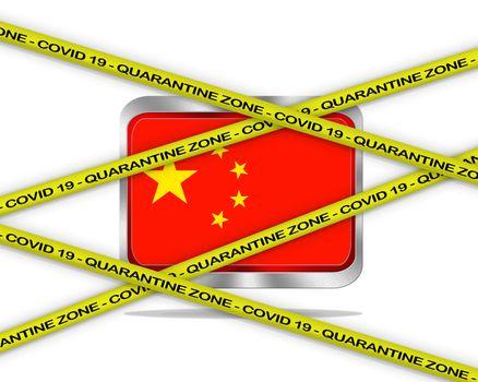 COVID-19 warning yellow ribbon written with: Quarantine zone Cover 19 on China flag illustration. Coronavirus danger area, quarantined country.