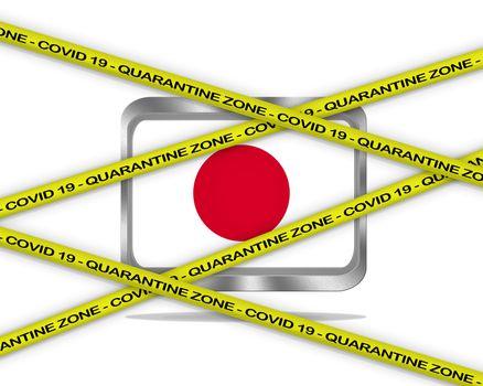 COVID-19 warning yellow ribbon written with: Quarantine zone Cover 19 on Japan flag illustration. Coronavirus danger area, quarantined country.